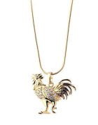 New Imitation Gold Plated White Austrian Crystals Rooster Pendant with Gold Plated Chain