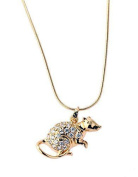 New Imitation Gold Plated White Austrian Crystals Mouse Pendant with Gold Plated Chain