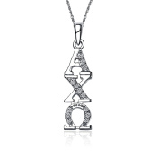 Alpha Chi Omega Vertical Silver Lavalier