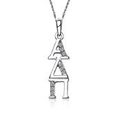 Alpha Delta Pi Vertical Silver Lavalier