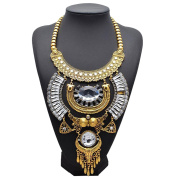 Easting Womens Luxury Vintage Portrait Coin Jewellery Big Crystal Pendant Necklace