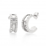 Jewelled Silver Tone Thick Hoop Earrings with Gift Box