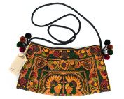 Lanna Lanna Hmong Bag - Hill Tribe Boho Swingpack Clutch Purse, Cross Body Shoulder Bag With Embroidered Bird Design And Pom Poms