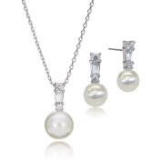 LAURA & ALEXANDER Delicate and Elegant Simulated Pearl Cubic Zirconia Pendant Necklace SET Rhodium Plated