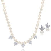 """LAURA & ALEXANDER 17"""" Hand Knot 5mm Simulated Cream Pearl Necklace and Earring SET Rhodium Plated"""