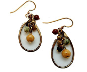 Silver Forest Goldtone Open Teardrops with Cascading Beads