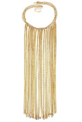 B Jewellery Collection Golden Long Fringe Chain Tassel Bib Statement Necklace