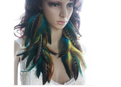 Natural Feather Earrings Yellow Blue Long Natural Feather Earrings