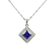 Fashion Jewellery - 18k White Gold Plated Square Necklace