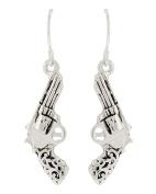 WESTERN THEME Filigree Gun Dangle Fish Hook EARRINGS / AZERSW938-ASL