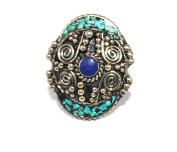 Lapis Turquoise Ring, Tibetan Ring, Nepal Ring, Gypsy Ring, Boho Ring