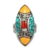 Coral Turquoise Ring, Tibetan Ring, Nepal Ring, Gypsy Ring, Boho Ring