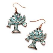Rhinestone Accented Vintage TREE OF LIFE Metal Dangle Earrings / AZERFH951-PAT