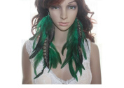 Long Feather Earrings for Women Chain Natural Green Feather Earrings for Women