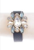 Black leather strap w/ diamond flower - adjustable