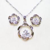 Fashion Jewellery - 18K White Gold Plated Round CZ Set
