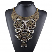 Easting Hot Stunning Filigree Owl Faceted Rhinestone Festoon Chandelier Chunky Bib Necklace