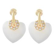 Valentine : Heart Shell Rhinestone Sweet Stud Earrings / AZERVF362-GWH