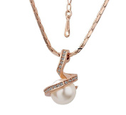 Basket Hill, 18KGP Gold with Pearl (sim) and Swirl of Clear Crystals Womens Necklace