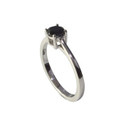 Sterling Silver 0.45cttw Black Spinel Solitaire Ring