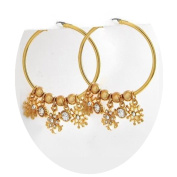 Gold Snowflake Earrings Yellow Gold Plated 3.8cm Hoop Plus Charms Nicely Boxed