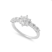 925 Sterling Silver Cubic Zirconia Flower Ring 9MM