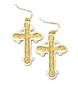 Cross Fish Hook Earrings / AZERCR003-GSL