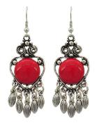 .  Fashion Chandelier Dangle Antique Silver Coral Stone Earring / AZERVR846-ARD