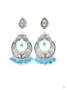 Imitation Antique Silver Oxidise Bali Earring - Antique Silver Tone / AZINOXC428-ABL