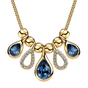 """Neoglory Blue Made with Elements Tear Drop Crystal Gold Plated Chain Bib Necklace 18"""""""