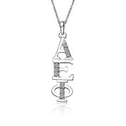 Alpha Epsilon Phi Vertical Silver Necklace with a 46cm Silver Chain