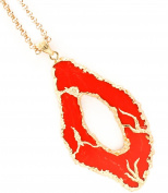Accessory Accomplice Celeb-Inspired Goldtone Red Abstract Oval Shape Pendant Necklace