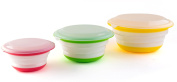 Fasmov Silicone Collapsible Storage Bowls with Lids-Set of 3