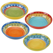 Certified International Valencia Soup/Pasta Bowl (Set of 4), 23cm , Multicolor