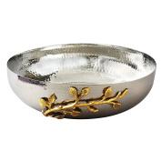 Elegance Golden Vine Hammered Salad Bowl, 30cm , Silver/Gold