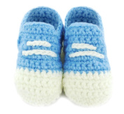 Soft Knitted Woollen Blue and Cream Lace Detail Baby Boy Infant Sock Shoe Booties Ideal for a 3 - 12 Month Old Baby First Walking Shoes Handmade