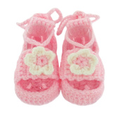 Soft Knitted Woollen Pretty Pink with White Flower Detailing Baby Infant Girl Sock Shoes Ideal for a 3 - 12 Month Old Baby First Walking Shoes Handmade