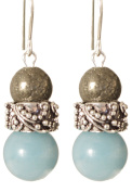 Nitesh Earrings - Sterling Silver - Pyrite and Amazonite
