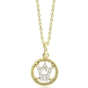 Two tone Pave CZ Tiara Crown 14K Gold Plated Brass Pendant Necklace on 41cm - 46cm chain