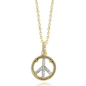Two tone Pave CZ Peace Sign 14K Gold Plated Brass Pendant Necklace on 41cm - 46cm chain