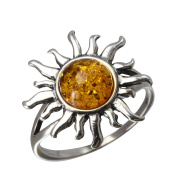 Sterling Silver and Baltic Honey Amber Sun Ring Size 8