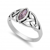 Solitaire Celtic Design Twisted Knot Bezel Set Engagement Ring Marquise Cut Pink CZ 925 Sterling Silver