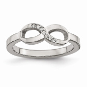 Jewellery Best Seller Stainless Steel Polished Infinity Symbol CZ Ring