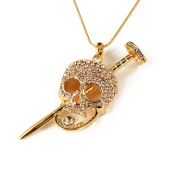 EVBEA Gold Tone Gothic Skull with Long Nail The Death Pendant Necklace Unique Cool Statement Crystal Necklaces for Women