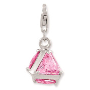 925 Sterling Silver 3-D Pink CZ w/ Lobster Clasp Charm - Amore La Vita Collection