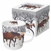 Paperproducts Design Gift Boxed Porcelain Mug, 400ml, Winter Woods Horses, Multicolor