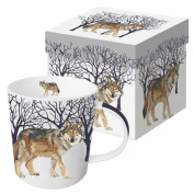 Paperproducts Design Gift Boxed Porcelain Mug, 400ml, Winter Woods Wolf, Multicolor