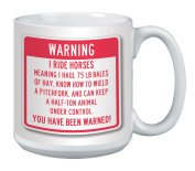 Tree-Free Greetings Extra Large 590ml Ceramic Coffee Mug, You've Been Warned Themed Horse Art