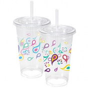 Nicole Home Collection 07822 10 Count Paisley Ice Coffee Cups with Lids and Straws, 710ml, Multicolor