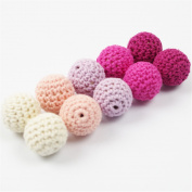 Crochet Teething Beads 60 PCS 20mm Pink Series Wooden Teether Cotton Beads Round Beads In Pink Shades Beige Lila Colour Baby Teether Toys